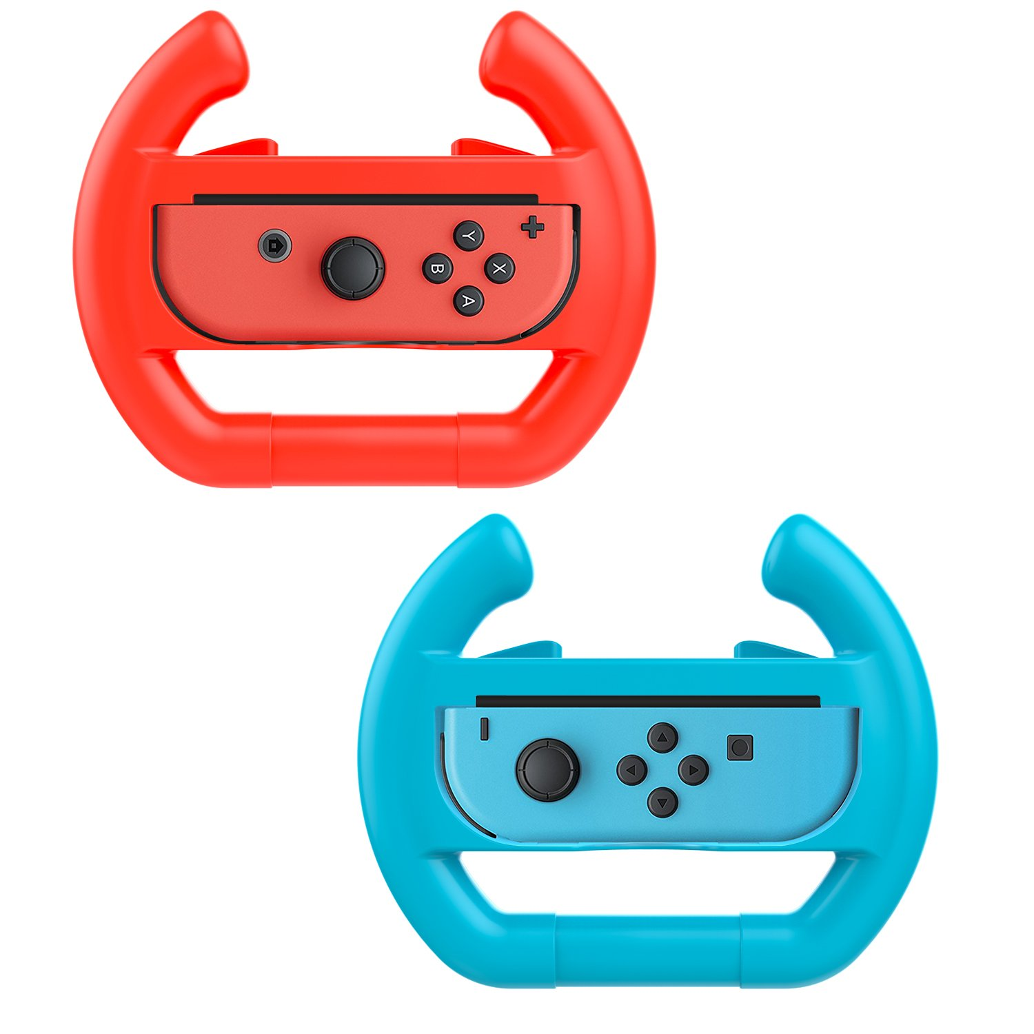 MoKo Nintendo Switch Steering Wheel, [2 Pack] Racing Game Manipulate Grip for Nintendo Switch Joy-con Controller (Blue & Red)