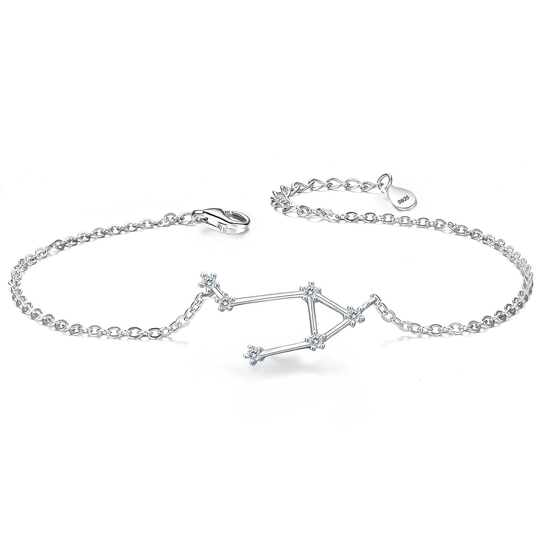 BriLove Women 925 Sterling Silver Wedding Bridal CZ Horoscope Zodiac 12 Constellation Astrology Link Bracelet 12001762-1ca