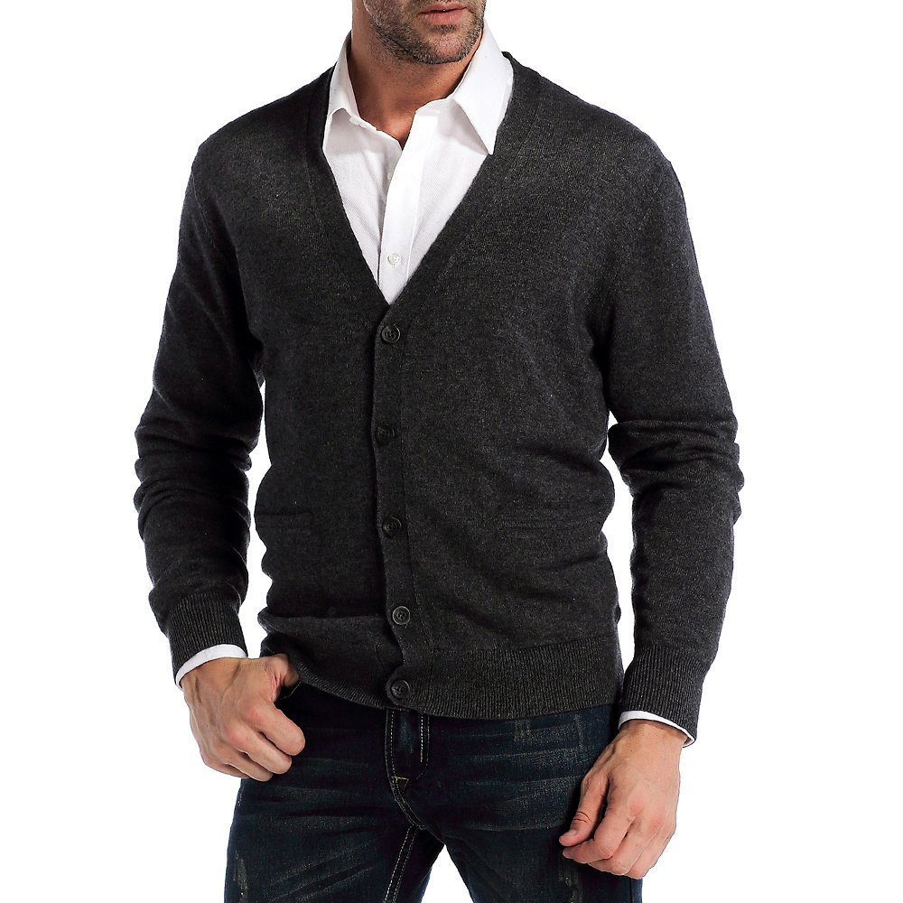 Kallspin Men's Relax Fit V-Neck Cardigan Cashmere Wool Blend Button Down with Pockets