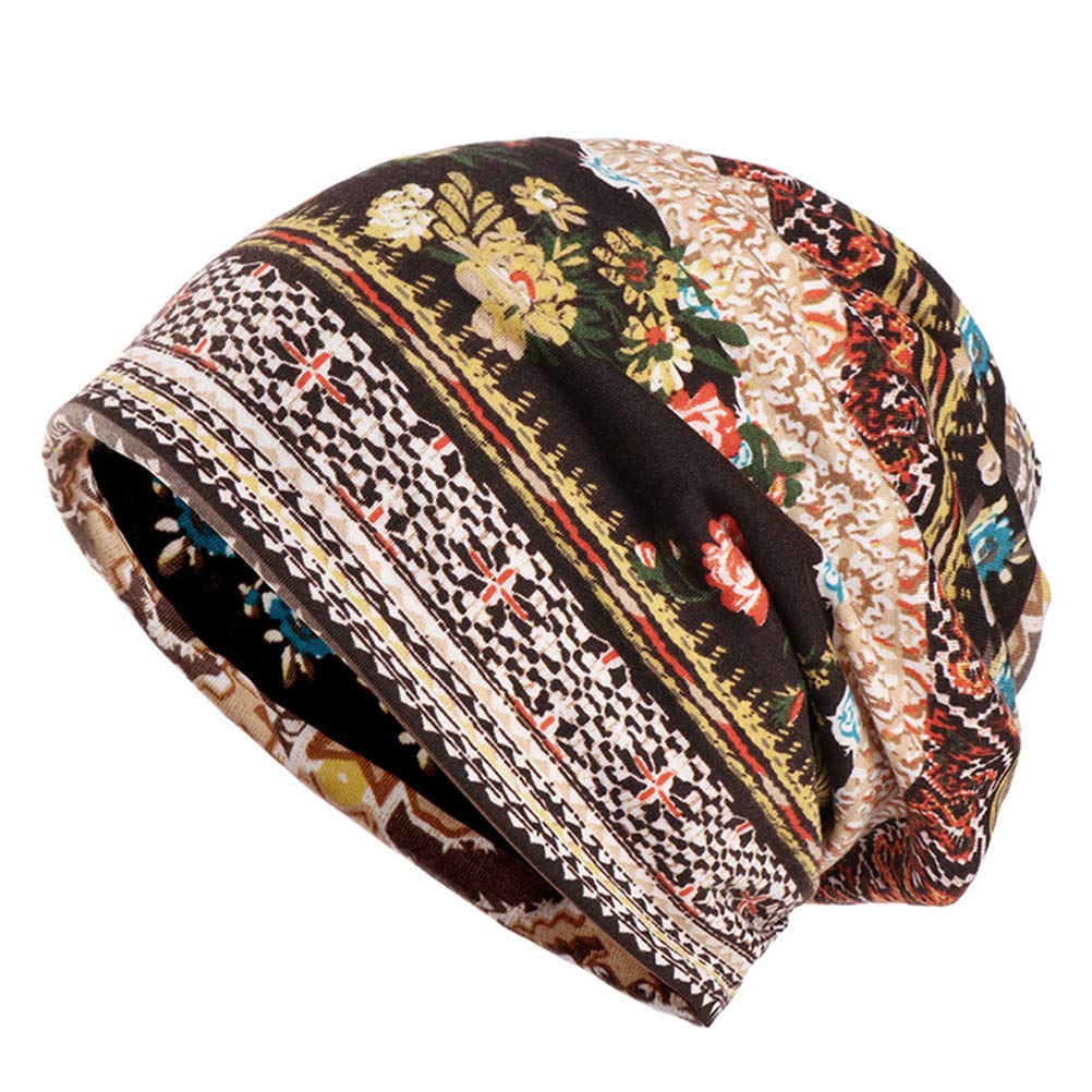 BESBOMIG Beanie Cotone Dormire Berretto Turbante Copricapo - Morbido Elastico Capo Avvolgere Stampare Cappello Sciarpa Snood Per Alopecia