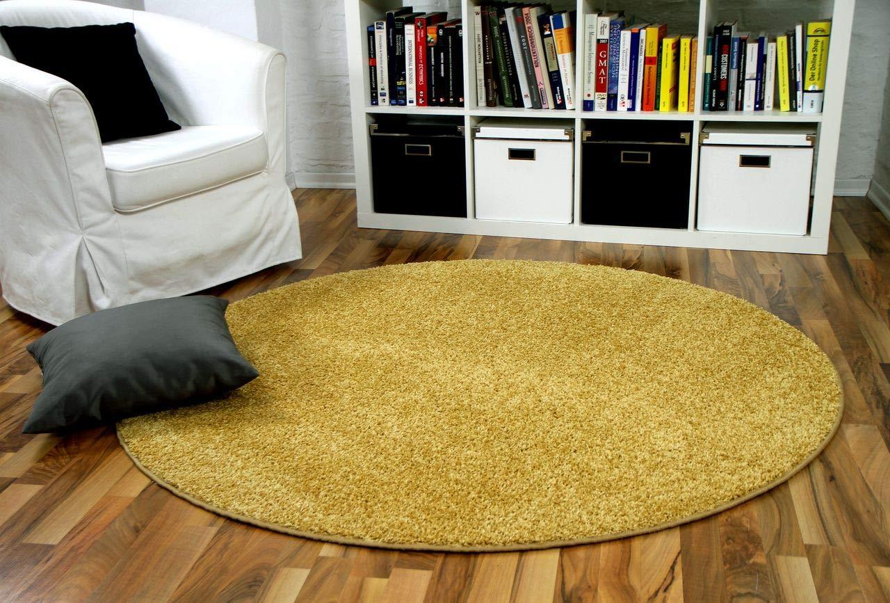 Mona - Alfombra pelo corto redonda - Velour - amarillo curry - 4 tamañ os interiortrend