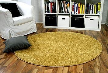 Hochflor Velours Teppich Mona Curry Gelb Rund In 7 Grossen Amazon De