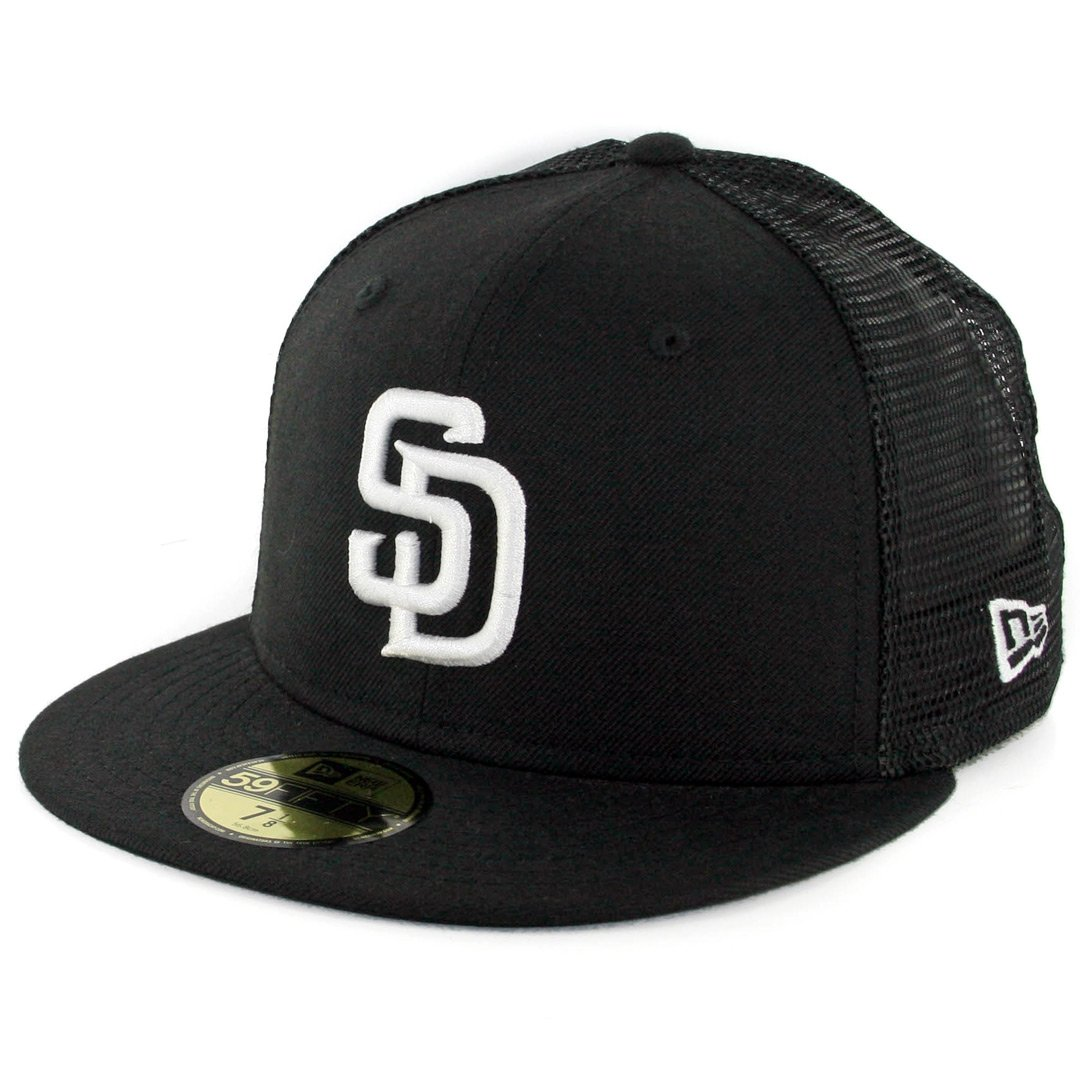 Amazon.com   New Era 59Fifty San Diego SD Padres Trucker Fitted Hat (Black)  Men s MLB Cap   Sports   Outdoors f6629bee43d6
