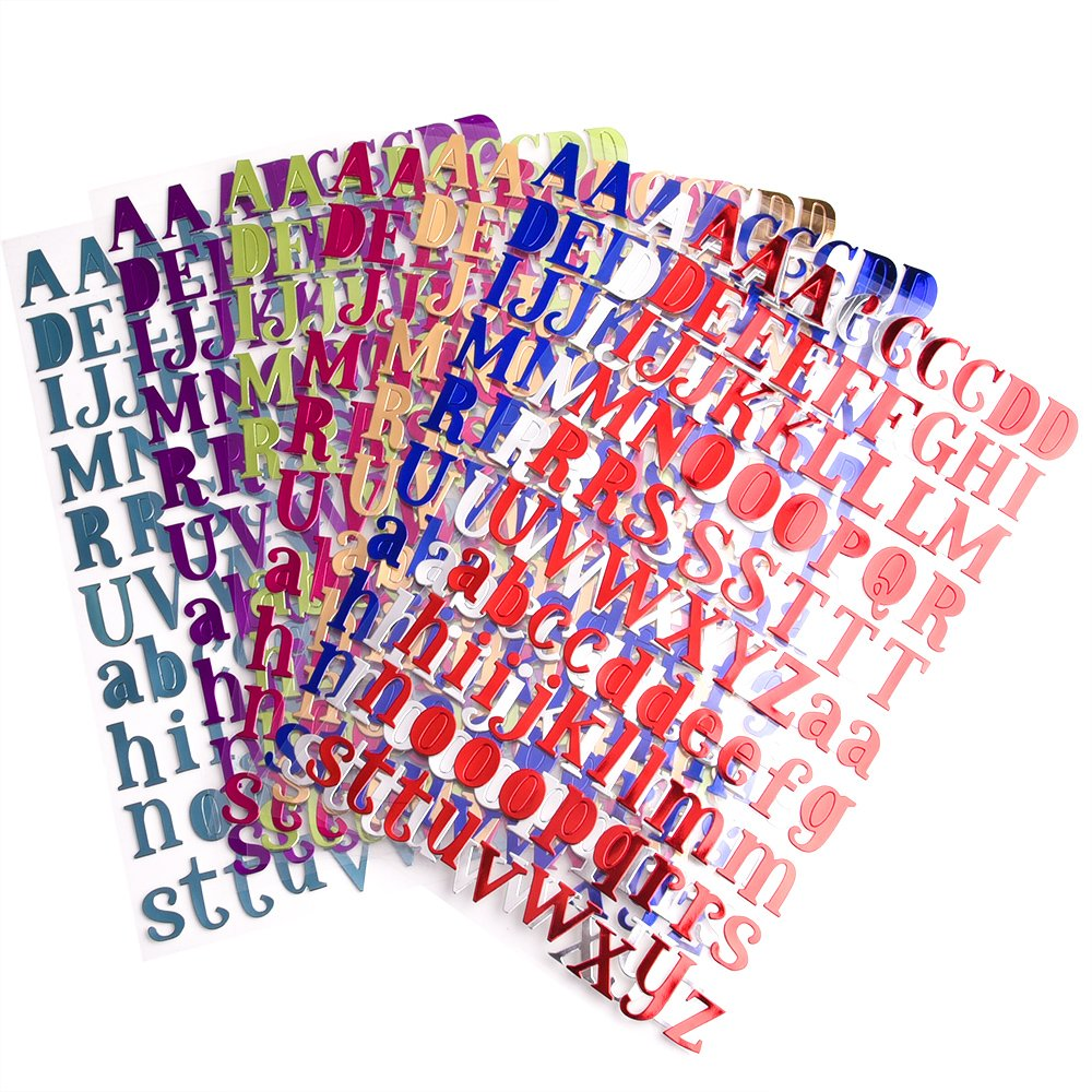Amazon.com: WXJ13 8 Colors Letter Stickers Self Adhesive Alphabet ...