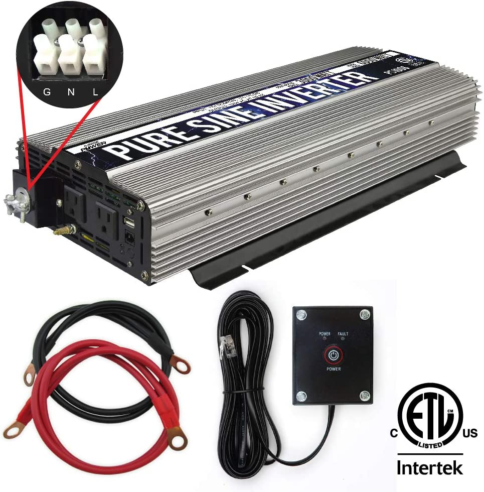 GoWISE Power PS1006 3000W Pure Sine Wave Power Inverter Hardwire Terminal