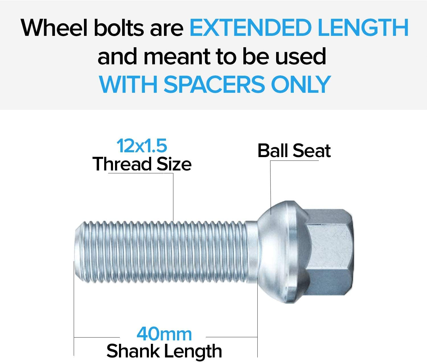 - C230 C240 C280 C320 E320 E420 E430 CL43 AMG SLK CLK 20 Extended Silver 12x1.5 Lug Bolts Fits Many Mercedes Benz Vehicles 40mm Shank Length, Ball Seat Check Description for Exact Year//Model
