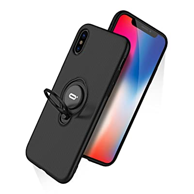DESOF iPhone X Case, iPhone 10 Case with Ring Holder Kickstand, 360°Adjustable Ring Grip Stand Work with Magnetic Car Mount Anti-Fingerprint Slim Cover for Apple iPhone X (2020) 5.8 inch - Black