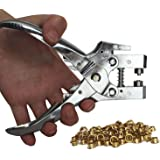 Curtzy Lochzangen-Set mit 100Ösen und Zange, Metallösen, Druckknöpfe, Locher - ideales Werkzeug für Leder, Stoff, Gürtel, Kleidung, zum Dekorieren und zur Reparatur
