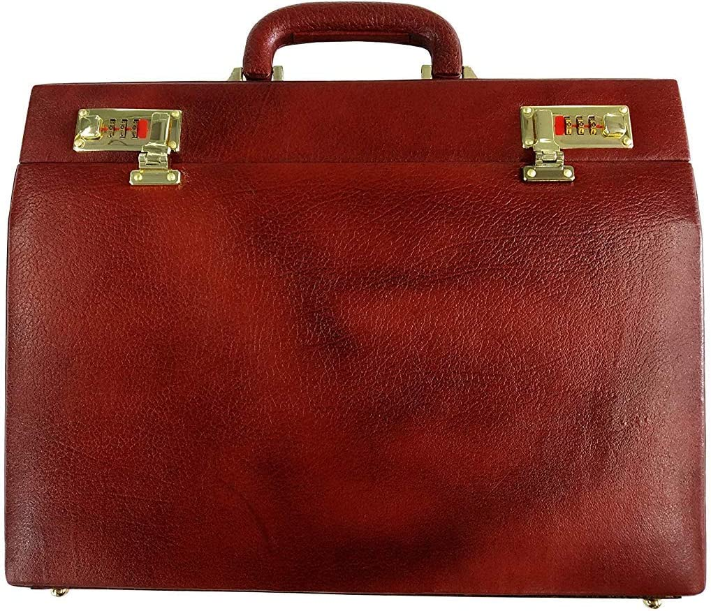 MANDAVA Genuine Leather Attache Case Leather Briefcase Business Travel Cases And Accessories Expandable Briefcases
