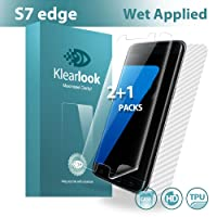 Galaxy S7 Edge Screen Protector[2+1 in Pack Not Glass], Klearlook® [Wet Applied Series] Bubble Free 2 Pieces Case-Friendly Full Transparent Screen Protector Film + 1 Piece Full Coverage Carbon Fibre Back Protector Skin for Samsung Galaxy S7 Edge [Lifetime Warranty]