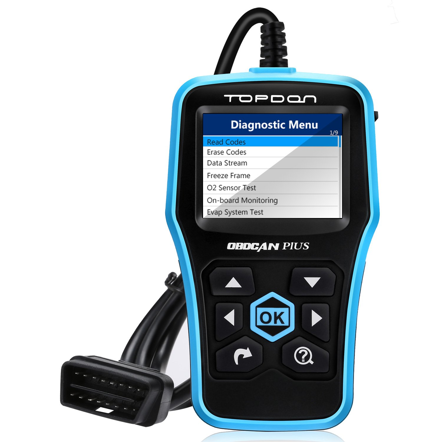 Code Reader, TT TOPDON Car Computer Diagnostic Tool OBD2 Scanner Read/Clear Engine Codes OBD II Full Function with O2 Sensor Test and On-board Monitor Test-Plus 2.0