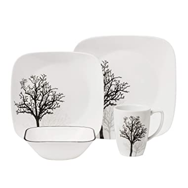 Corelle Square 16-Piece Dinnerware Set, Timber Shadows, Service for 4