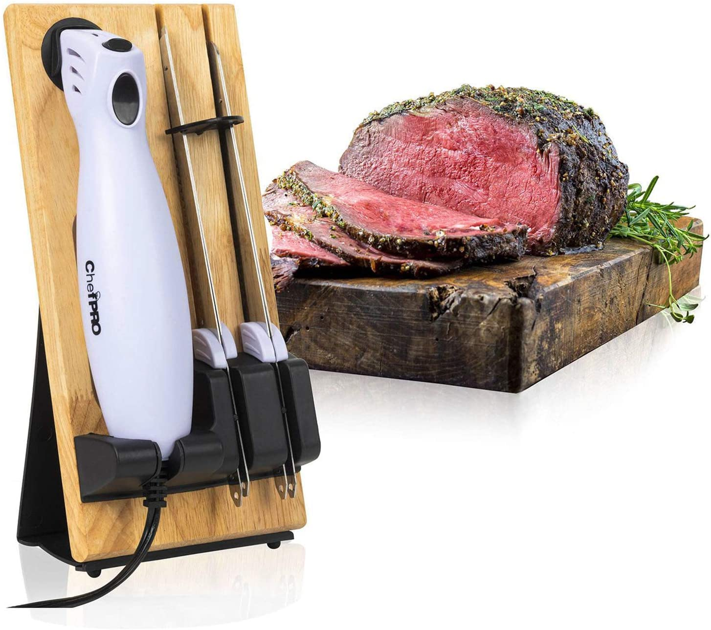 SERRATED CARVING ELECTRIC KNIFE SET By Chef PRO, With Wooden Storage Block, 2 Interchangeable Stainless-Steel Blades, Precise Cutting And Carving of Meats, Fruits and Breads, Ergonomic Design For Comfort, White