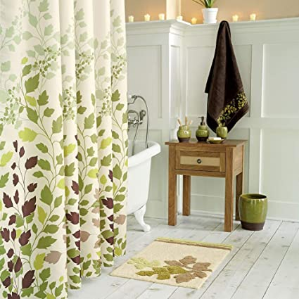 DS BATH Tulip Tree Green Leaves Shower CurtainFlower CurtainPlants Curtains