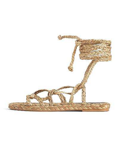 Sandales Nouées Naturelles Et Zara 2642001Amazon Femme Tressées 6bfy7g