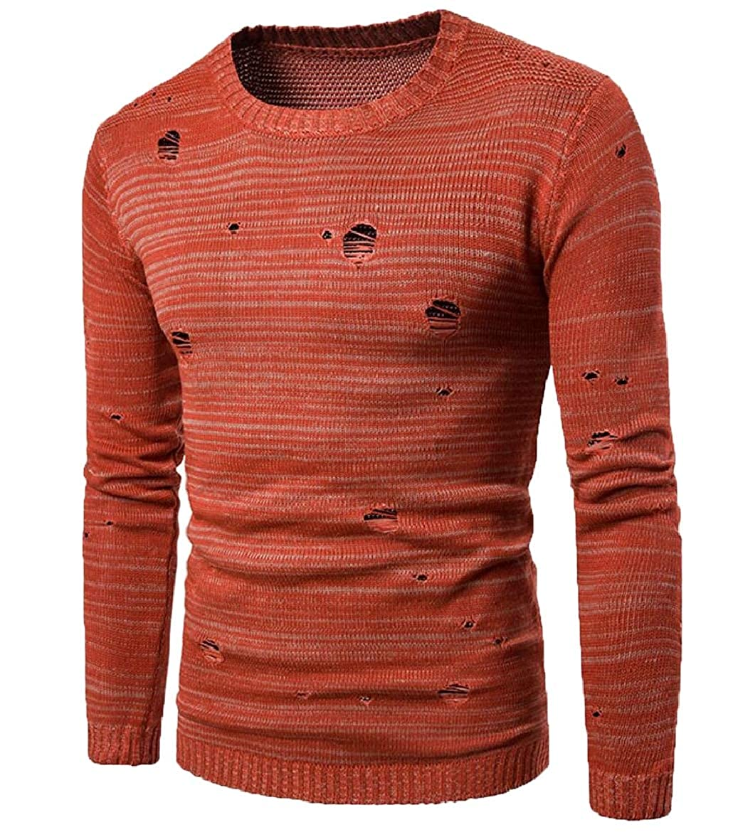 shinianlaile Men Autumn Sweater Ripped Hole Long Sleeve Knitted Crew Neck Pullover Top