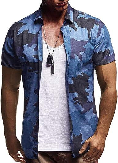 Camisa Hawaiana Hombre Manga Corta Camuflaje Azul Camo Camisa ...