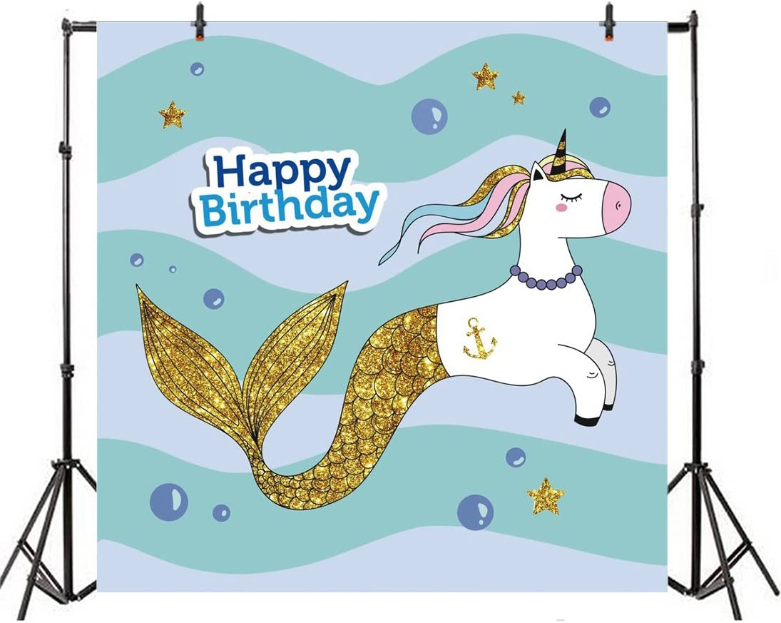 8x8FT Vinyl Photo Backdrops,Mermaid,Baby Fish Kids Nursery Background for Selfie Birthday Party Pictures Photo Booth Shoot