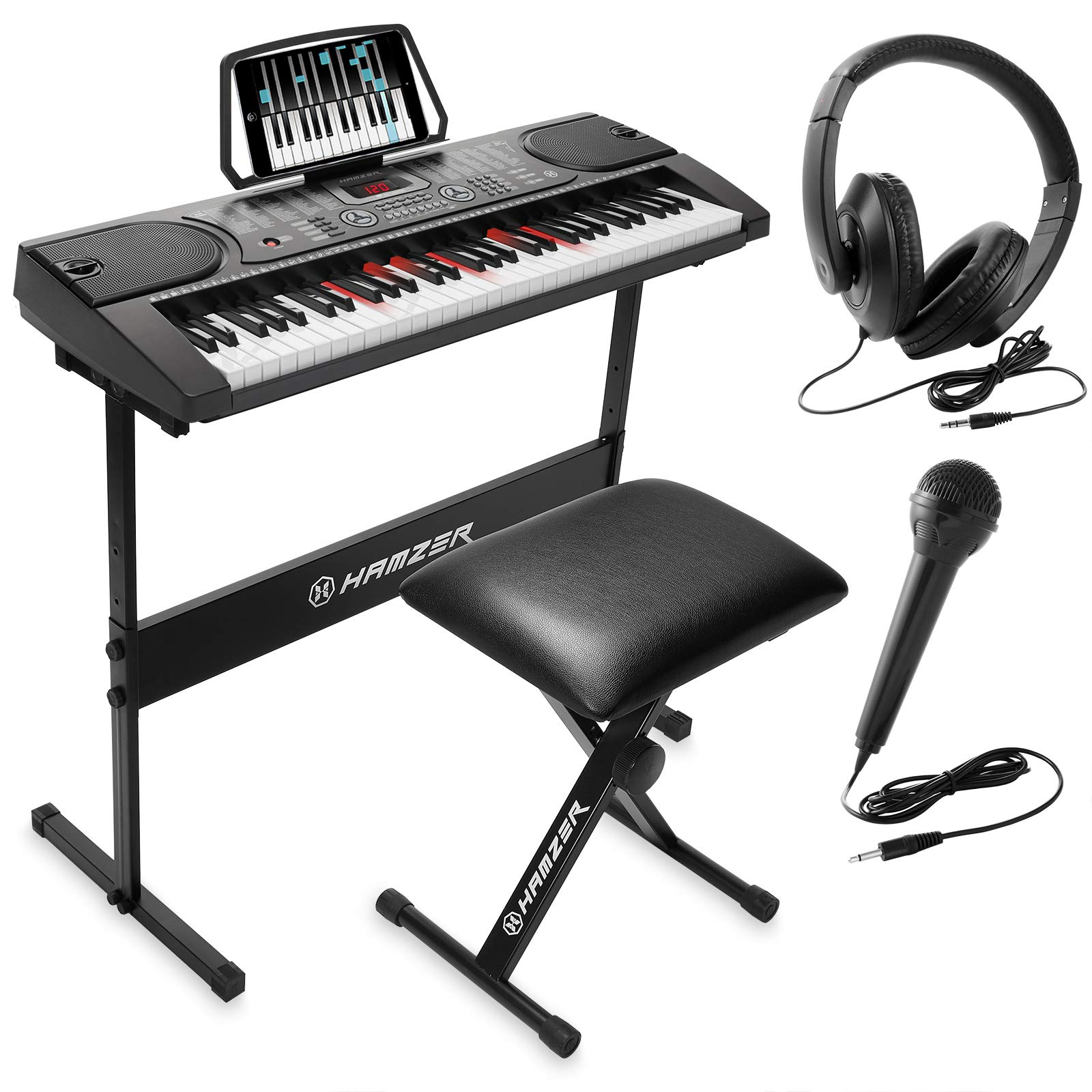 Hamzer 61-Key Electronic Keyboard Portable Digital Music Piano with Lighted Keys, H Stand, Stool, Headphones Microphone, Sticker Set by Hamzer