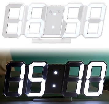 Lunartec Digitaluhr: Digitale Jumbo-LED-Tisch- & Wanduhr, 3D, Wecker, dimmbar, 28 cm (Wanduhr XXL)