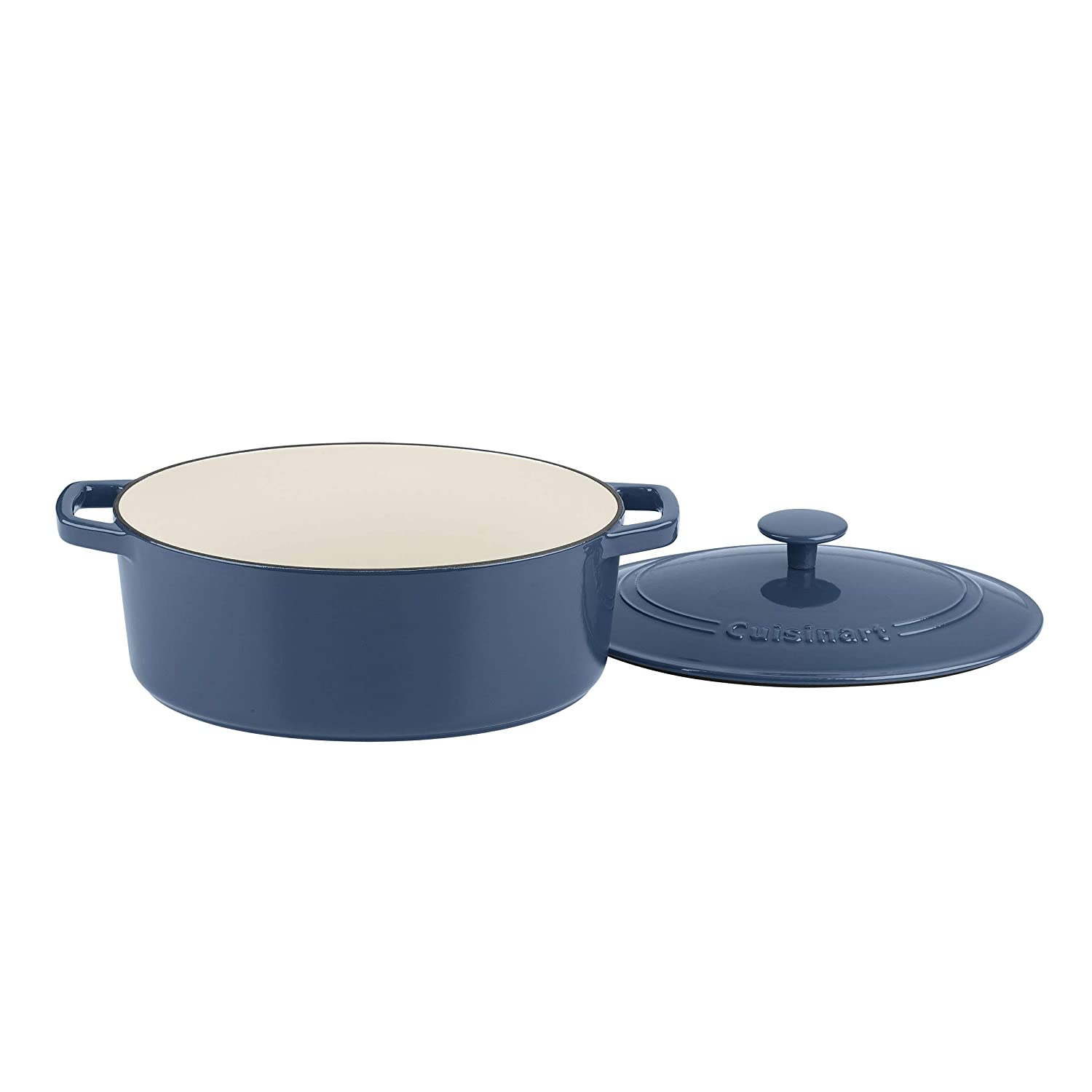 Cuisinart CI755-30BG Cast Iron Casserole 5.5 Qt Oval Covered, Enameled Provencial Blue