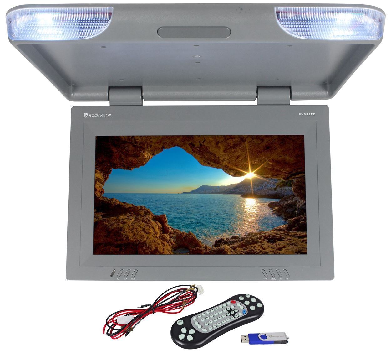 Rockville RVM22FD-GR 22'' TFT Grey Flip Down Car Monitor w/ USB/SD/Video Games