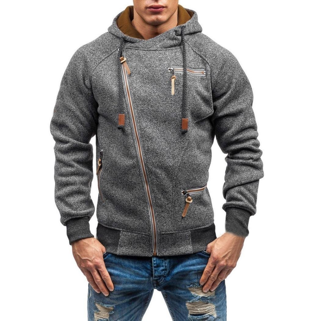 iLXHD Men's Autumn Long Sleeve Zipper Hooded Sweatshirt Outwear Tops Pullover(Dark Gray,L)