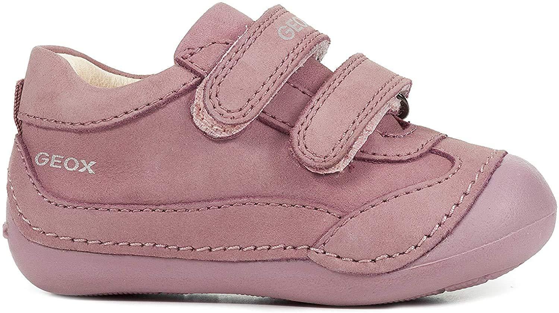 Geox Girls' TUTIM 28 Leather Bootie Dual Straps, Dark Pink, First Walker Shoe,