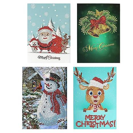 Biglietti Di Natale A Punto Croce.Turspit 4pcs 5d Fai Da Te Diamante Pittura Di Natale Biglietto Di