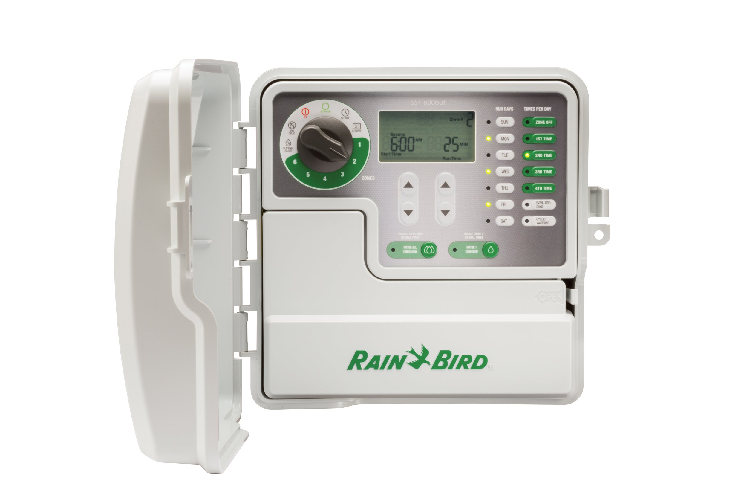 Rain Bird SST600OUT Simple-To-Set Indoor/Outdoor Sprinkler/Irrigation Timer/Controller, 6-Zone/Station (this new/improved model replaces SST600O)