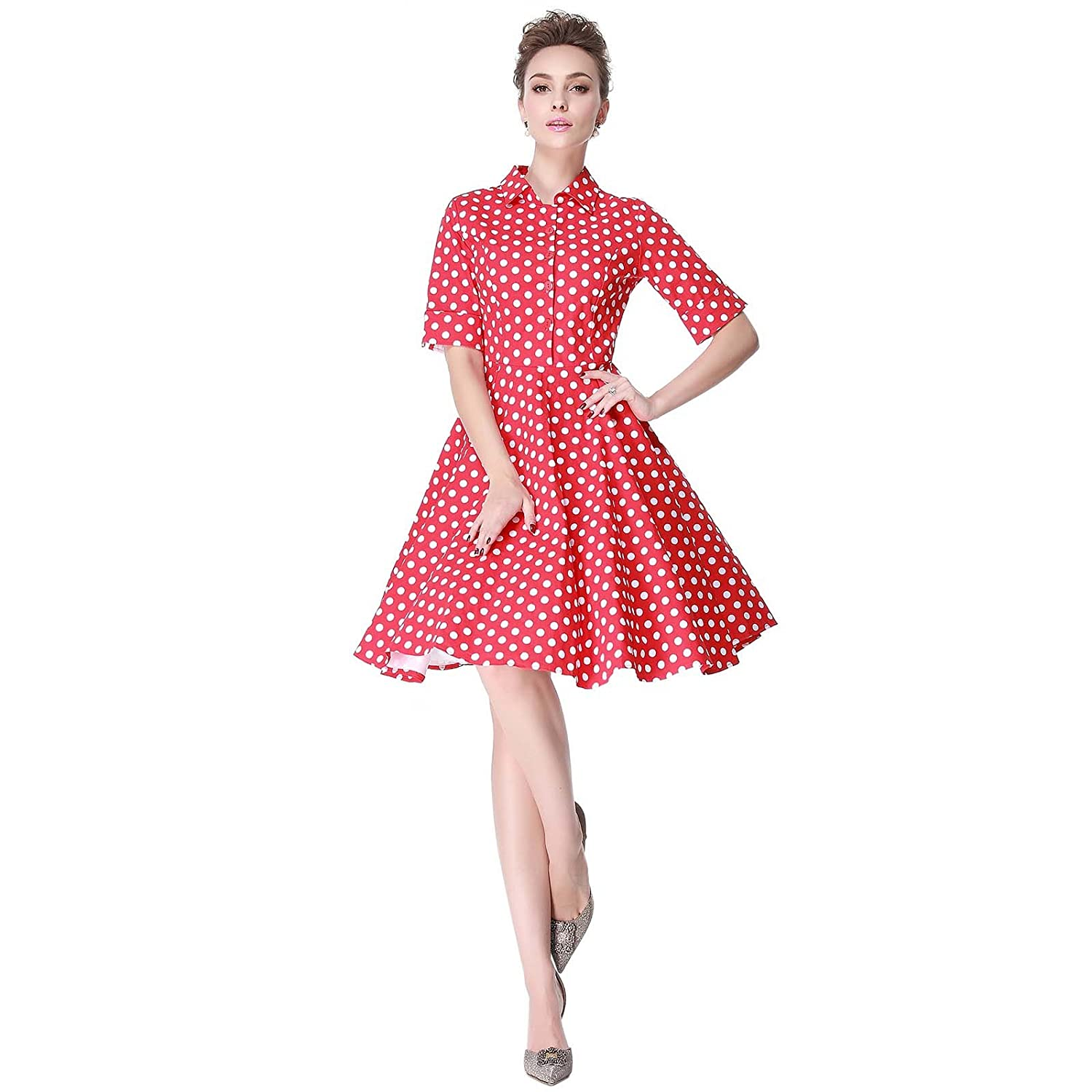 Vintage Polka Dot Dresses – Ditsy 50s Prints Heroecol Womens Vintage 1950s Dresses Polo Neck Short Sleeve 50s 60s Polka Dot Style Retro Swing Cotton Dress $21.99 AT vintagedancer.com