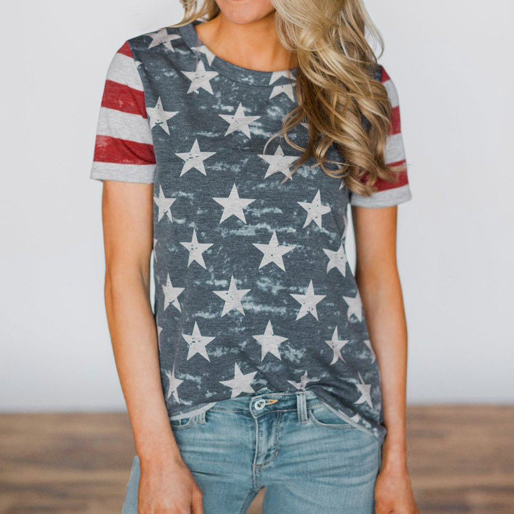ZEFOTIM Fashion Women Five-Pointed Star Print Short Sleeve Blouse Pullover Tops Shirt
