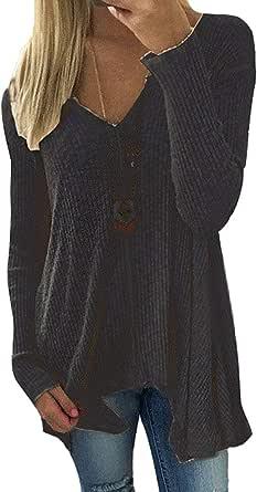 Women Sweater Spring Winter V Neck Sexy Long Sleeve Oversized Irregular Jumper Pullover Knit Shirt Sweatshirt Tops