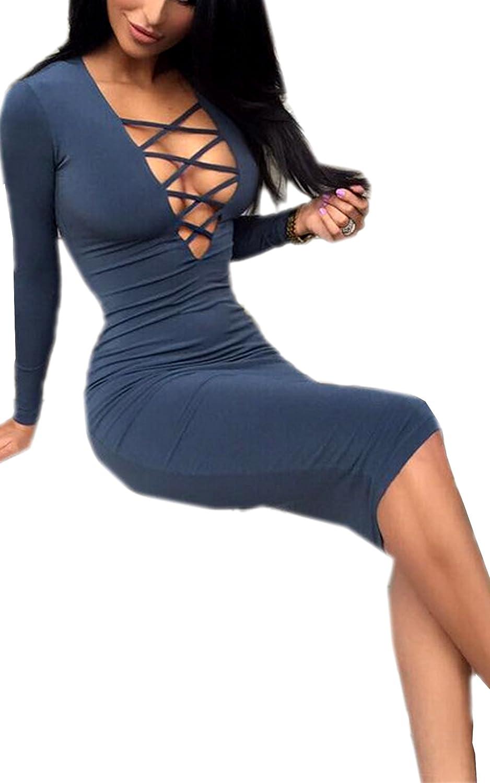 Ecowish Damen Sexy V-Ausschnitt lange Ärmel Herbst Bodycon Partei Verband Kleider