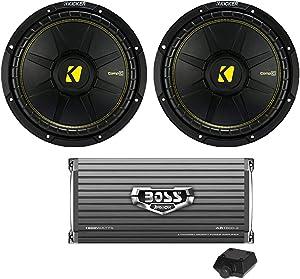 "KICKER 44CWCS104 10"" 1000W Car Audio Power Subwoofers + 1600W Amplifier"