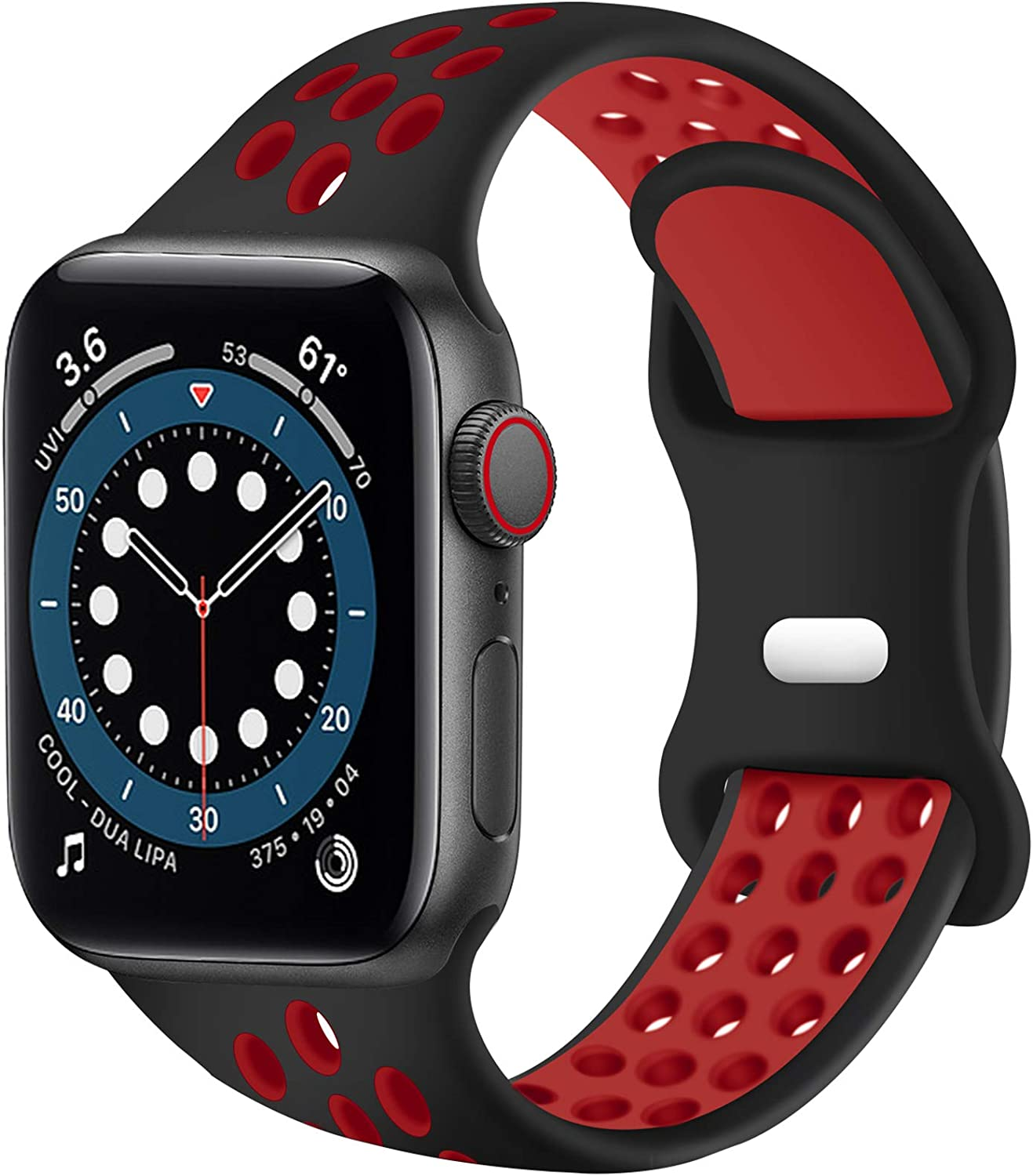 SVISVIPA Sport Bands Compatible for Apple Watch Bands 42mm 44mm,Breathable Soft Silicone Sport Women Men Replacement Strap Compatible with iWatch Series SE/6/5/4/3/2/1,Black Red
