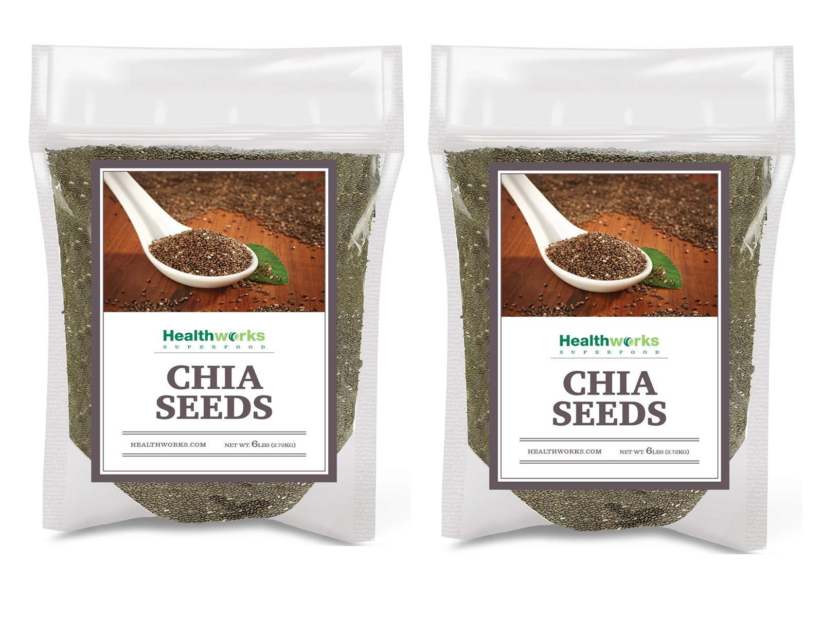 Healthworks Chia Seeds Raw (12lb / 192oz) (2 x 6 Pound Bags) | Pesticide-Free, Premium & All-Natural | Contains Omega 3, Fiber & Protein | Great with Shakes, Smoothies & Oatmeal by Healthworks