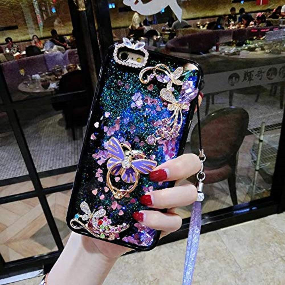 Butterfly Ring Kickstand Case for Huawei P30,Aoucase Luxury 3D Butterfly Diamond Glitter Crystal Quicksand Soft TPU Bumper Neck Lanyard Liquid Case with Black Dual-use Stylus,Purple by Aoucase