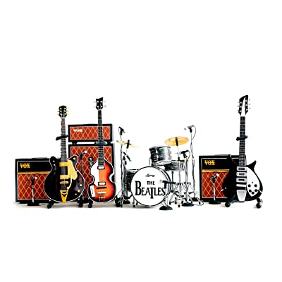 Fan Merch The Beatles Miniature Guitar Ed Sullivan Set of 3 Guitars & Drums & Amps + Mics: Toys & Games