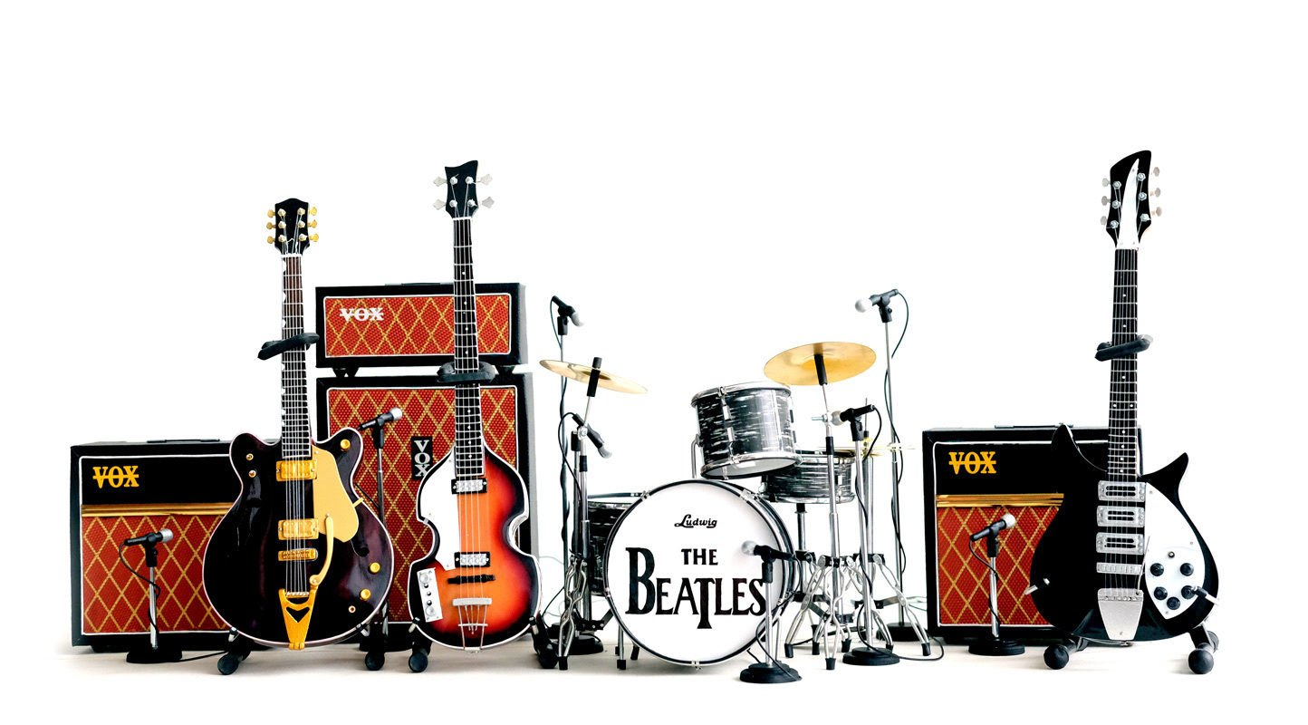 Fan Merch The Beatles Miniature Guitar Ed Sullivan Set of 3 Guitars & Drums & Amps + Mics by Fan Merch