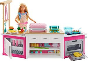 Barbie Kitchen Playset with Doll, Lights and Sounds, Food Molds, 5 Dough Colors and 20 Plus Accessories [Amazon Exclusive]