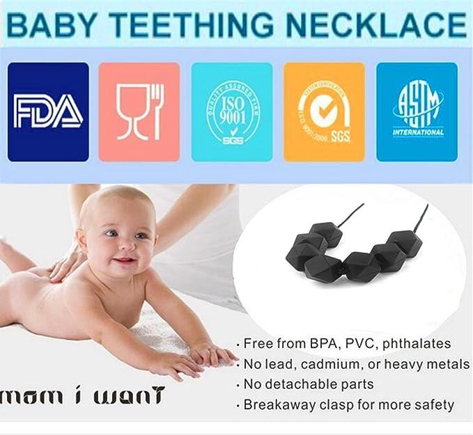 Collar de para Bebé Collar Mordedor de Silicona Antibacteriana Para Dentición con Nudos de Seguridad Negro