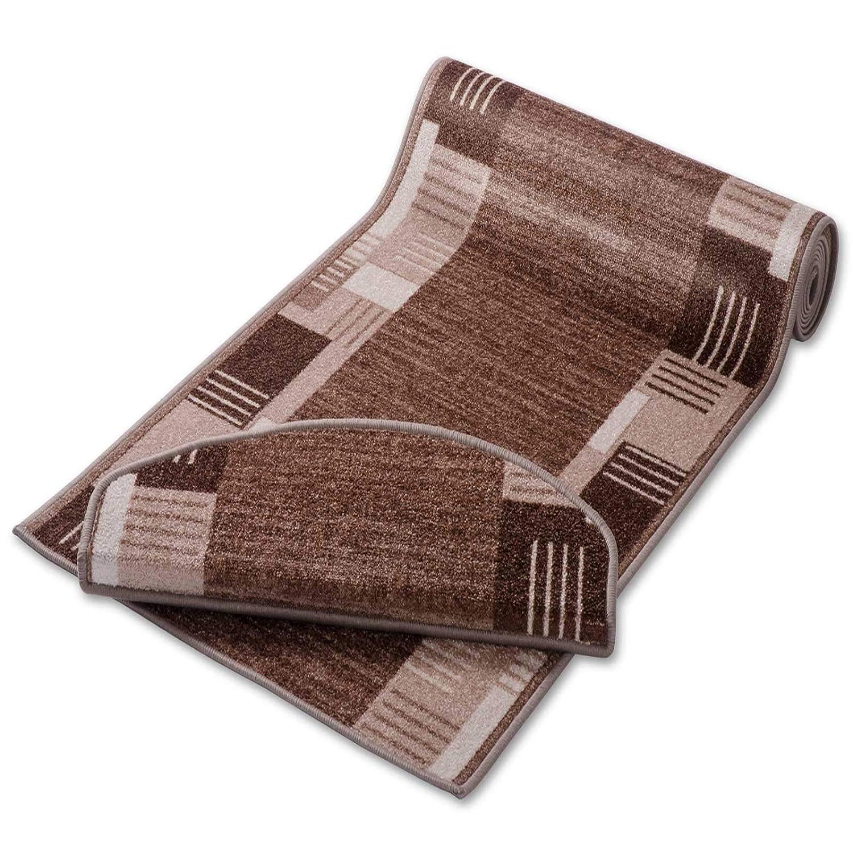 Casa pura Stufenmatten mit Zeitloser Musterung   Beige   Qualitätsprodukt aus Deutschland   Gut Siegel   Kombinierbar mit Läufer   65x23,5cm   halbrund   einzeln Oder im Set (15er-Set)