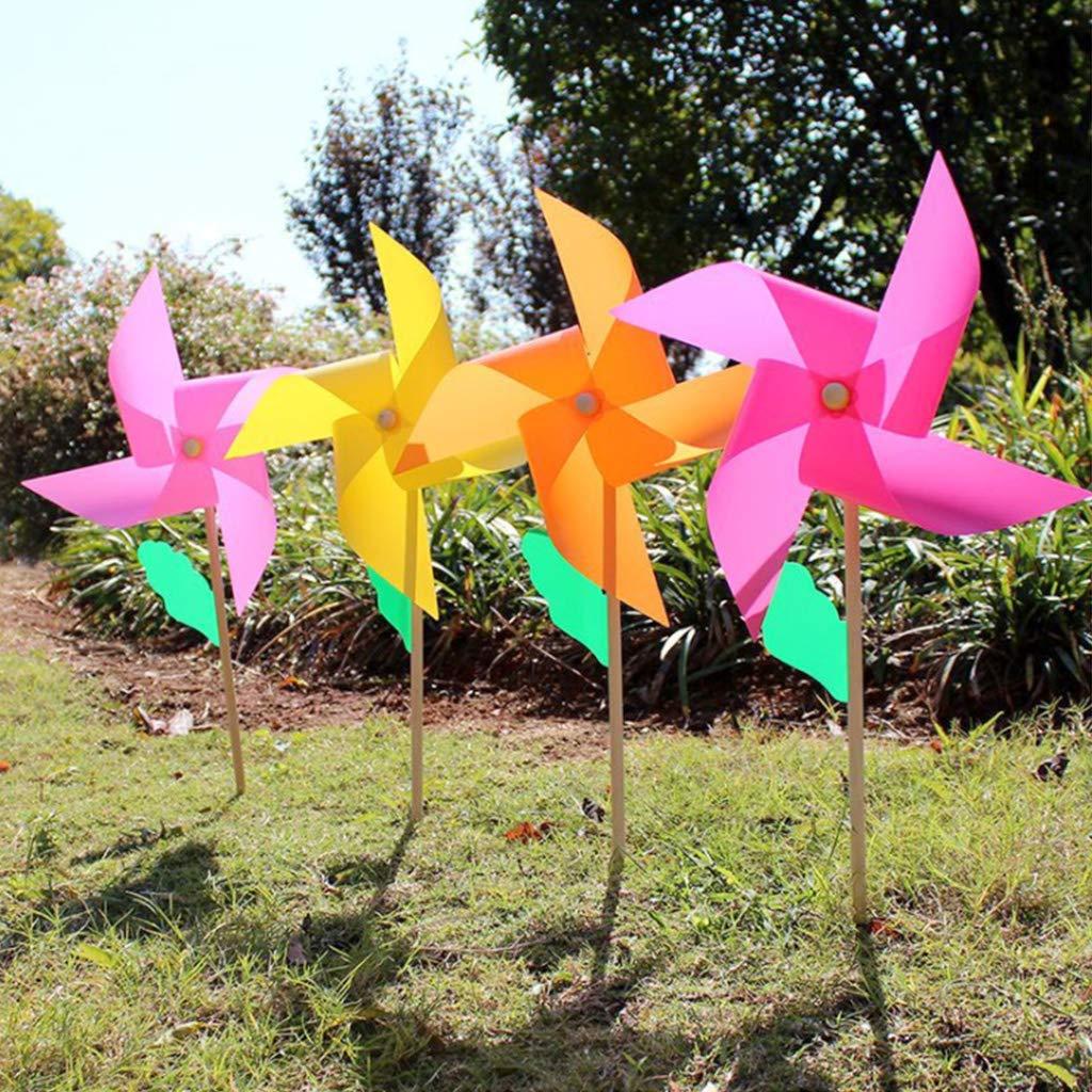 1 Pieza SimpleLife Windmill Wind Spinner con Mango de Madera Juguete de los niños para el jardín del jardín Patio Decoración para Fiestas Adornos al Aire Libre Hecho a Mano 38x64cm
