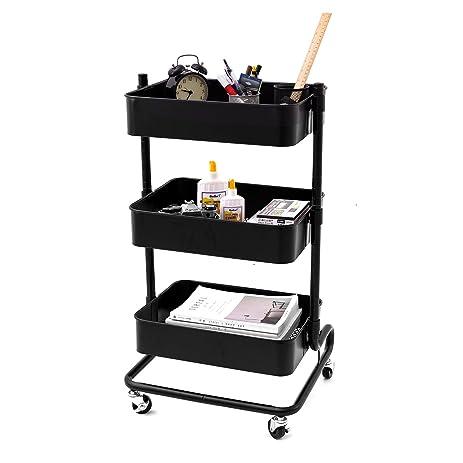 corneria 3 tier adjustable rolling utility cart shelves of versatile mobile storage organization cart - Rolling Utility Cart