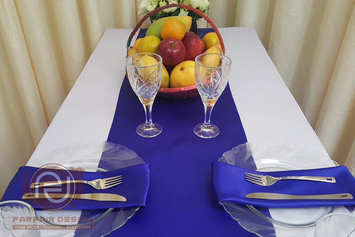 Parfair Dessin Pack of 10 Satin Table Runners 12 x 108 inch for Wedding Banquet Decoration, Bright Silk and Smooth Fabric Party Table Runner - Royal Blue by Parfair Dessin (Image #5)