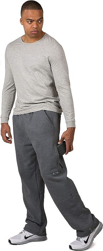 Vibes Big Man Charcoal Fleece Sweatpants Zipper Cargo Pocket Bungee Cord Bottom