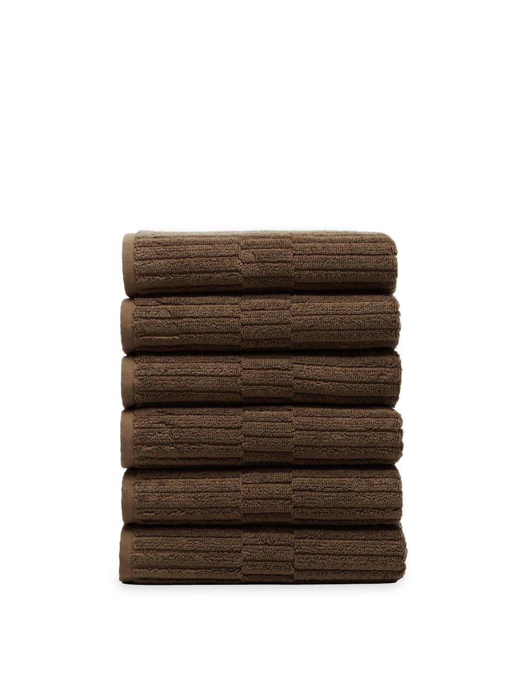 Chortex Oxford %100 Turkish Cotton Hand Towel, Set of 6 (Khaki)