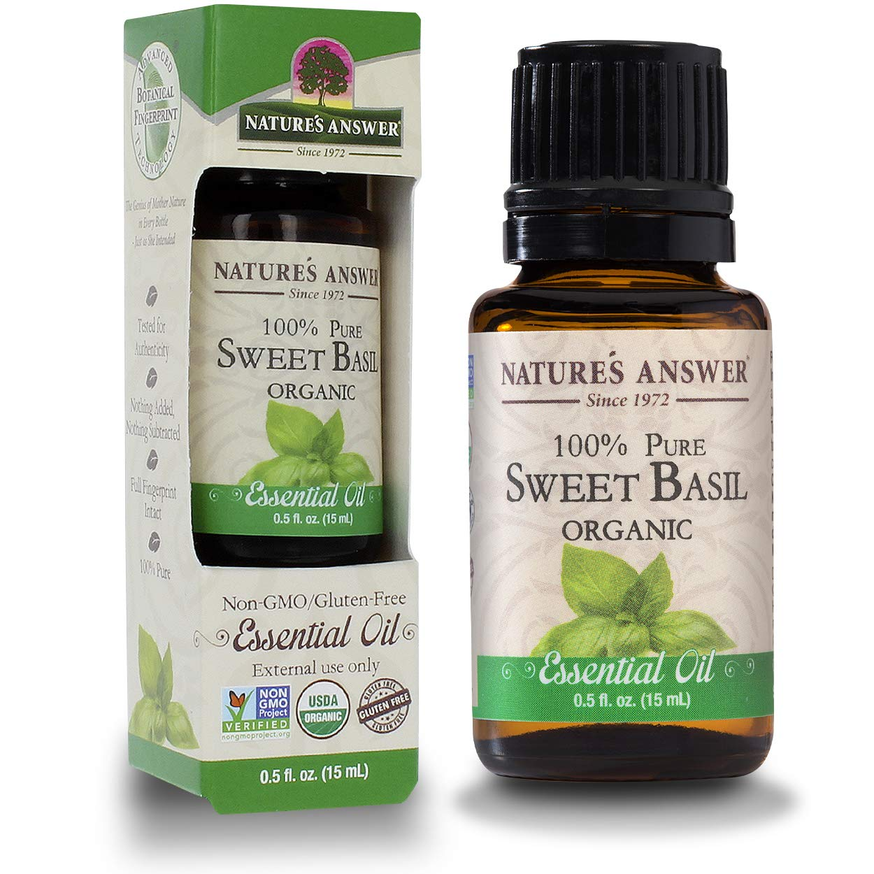 Nature's Answer 100% Pure Organic Essential Oil, 0.5-Ounce, Sweet Basil