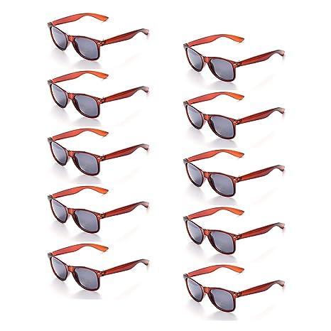 ONNEA 10 Piezas Gafas de Sol Fiesta Colores Paquete Años 80 (Marrón 10-Paquete)